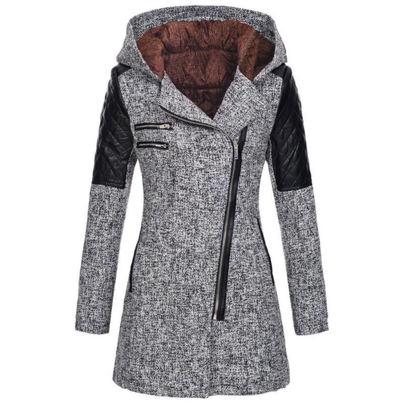 재킷 패션 여성 재킷 웨딩 따뜻한 슬림 두꺼운 오버 코트 겨울 outwear 후드 지퍼 코트 블라우스 # YB40
