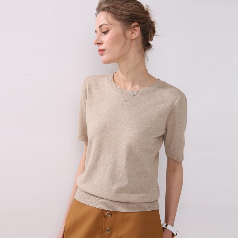 Spring y otoño mujeres grandes lanas sólidas suéter suéter de manga corta suéteres de cuello redondo suéter de punto de madera de gran tamaño 201016
