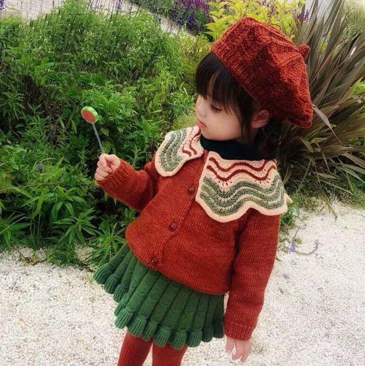 INS New Girls Wave Lapel Cardigan Winter Kids wool single-breasted long sleeve outwear children pumpkin knitted sweater cardigan A4759