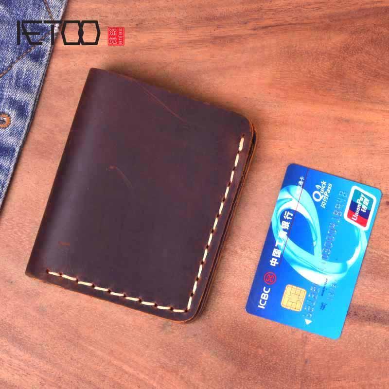AETOO кожаный бумажник, короткая голова кожа ретро мужской кошелек, сумасшедшие лошади сечение чисто ручной работы бумажник