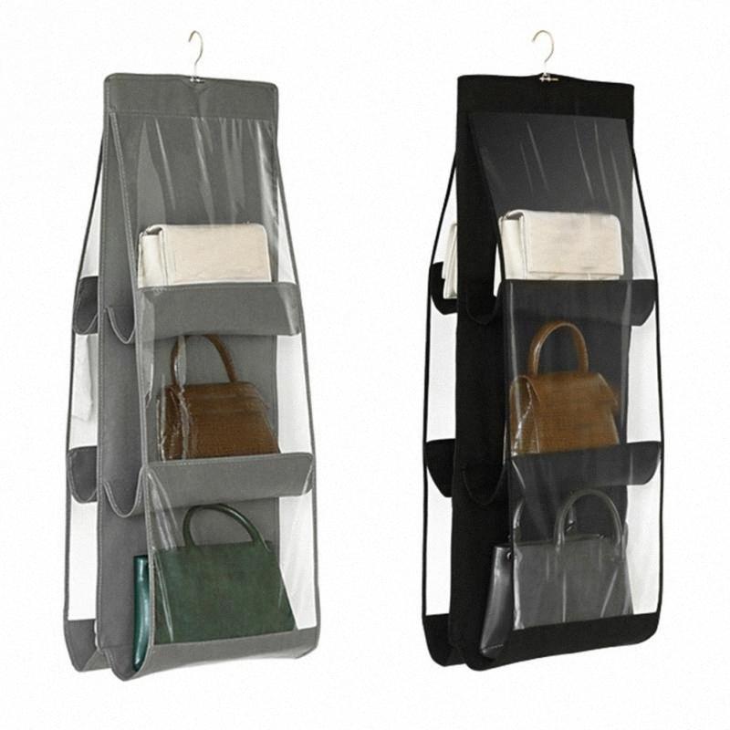Dust Proof Экономия пространства кошелек сцепления сумка органайзер с крюком 6 Карманы Складной шкаф ПВХ дома Висячие хранения Держатель 91YT #