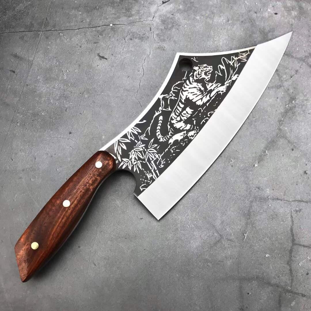 타이거 정육점 칼 8Cr13 블레이드 마호가니 손잡이 요리사 칼 고기 칼 뼈 도살 물고기 야외 캠핑 주방 도구