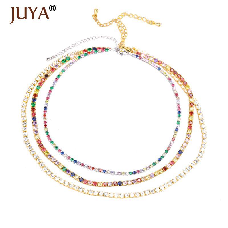Juya trendy arco-íris colares de cor delicada zircônia cúbica gargantilha para mulheres meninas jóias boêmio cadeia de tênis para os amantes presente
