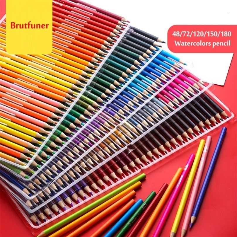 BrutFuner 48/72/120/150/180 Suluboya Profesyonel Suda Çözünür Boyama Renkli Kalem Sanat Malzemeleri Öğrenciler Hediyeler 201223