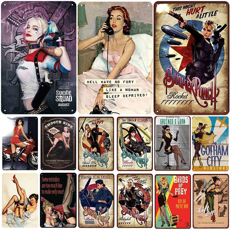 2021 Filles Plaque Métal Vintage Tin Enseigne Sexy Pin Up Shabby Chic Decor Signes Metal Signes Vintage Bar Décoration Métal Affiche Pub Pass Plaque Art Affiche