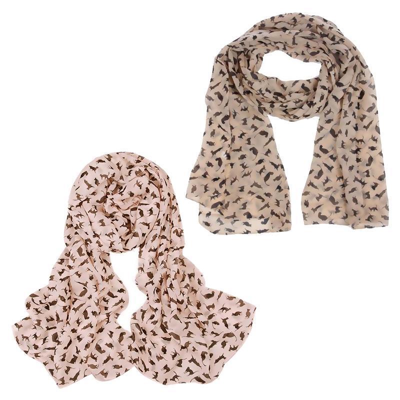 Nuevo gato imprimir bufanda de la bufanda de la celebridad de la moda de la moda de las bufandas envolven a las señoras animal nuevo suave