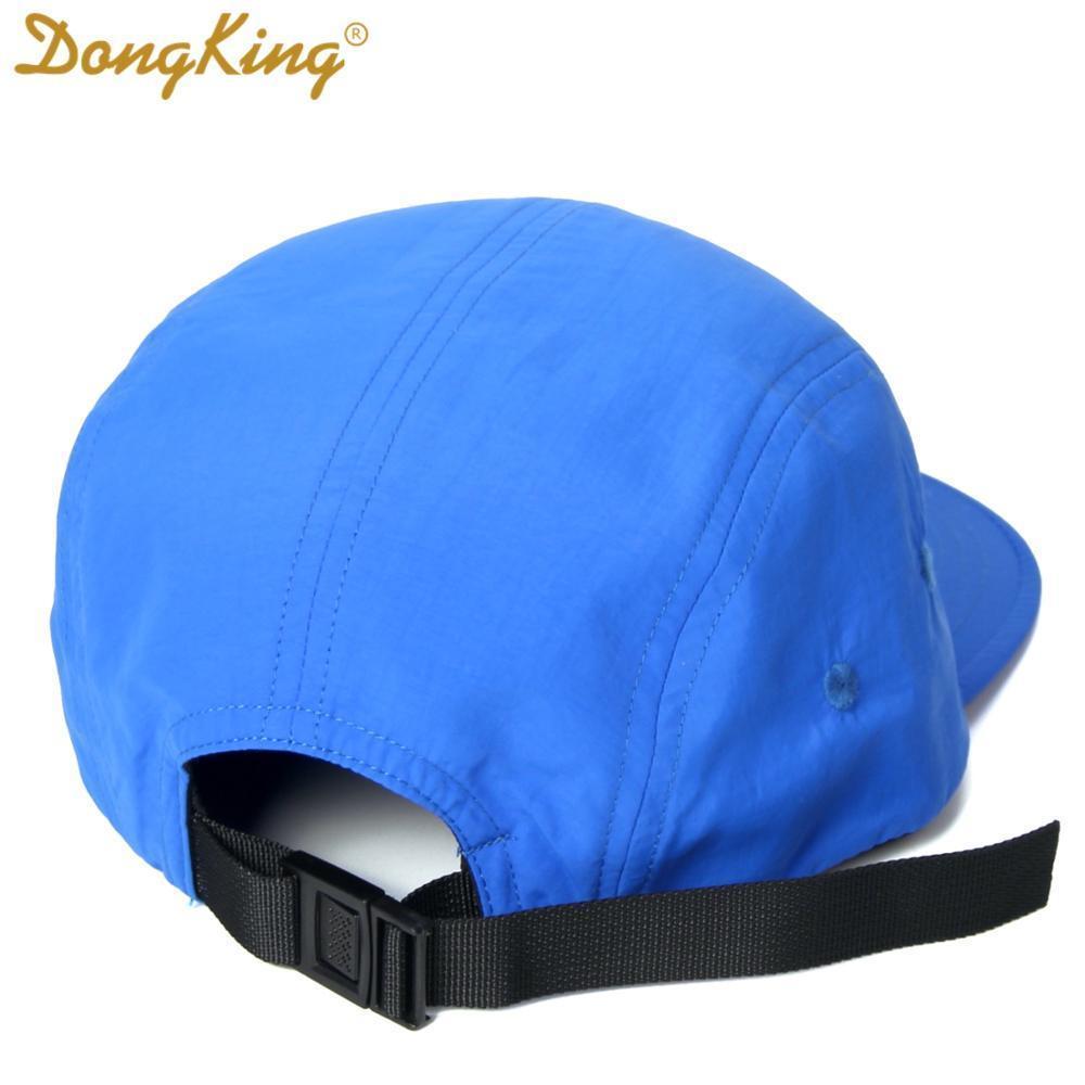 DongKing NEW 5 Panels Классический Бейсболка Короткие Брим Бейсболка Taslon Влагонепроницаемый Ткань Быстрый DRY Hat Плоский Билл Большой размер 201026