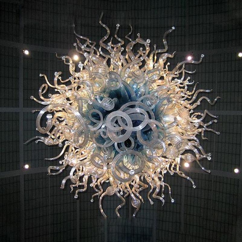 Contemporain Crystal lustre Italie Design Rond Verre Lampe Lustre Luminaires Luminaires Bleu Shade Clear Couleur Couleur Main Verre Blamparas