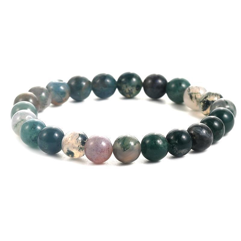 Nueva ágata bolas pulsera hecha a mano de la pulsera de la energía Hombres Mujeres Moda 8mm piedra natural joyería regalo Elastical
