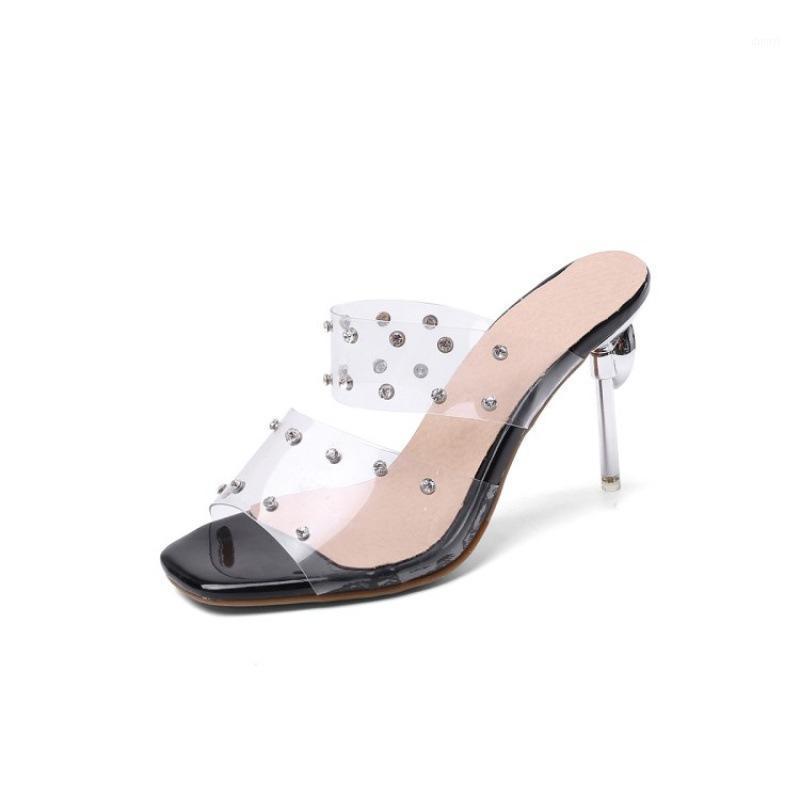 Женщины сексуальные прозрачные сандалии полосы PVC открытый тонкие высокие каблуки тапочки летняя мода вечеринка обувь большой размер1