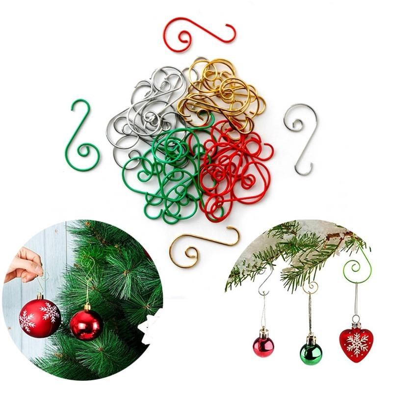 50Pcs Christmas Decorations Supplies S Shape Metal Hanging Hook for Christmas Tree Balls Ornaments Accessories Lot Y201020