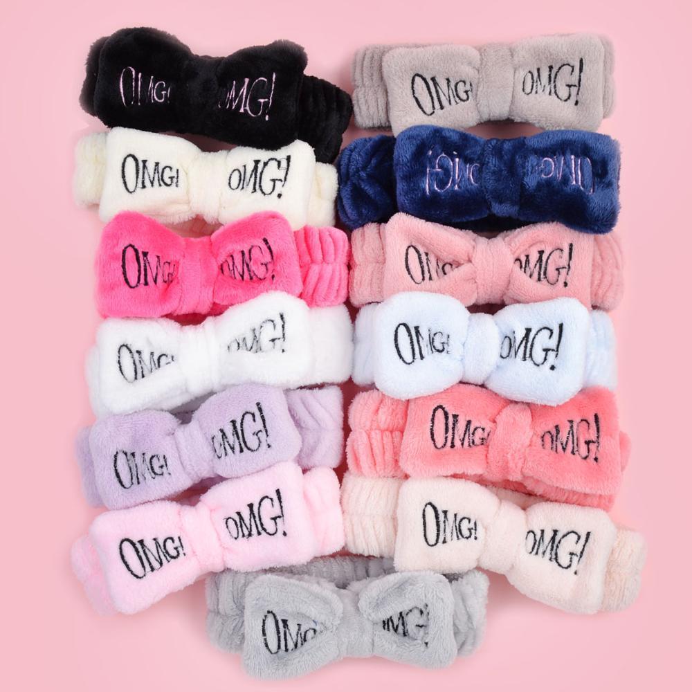 2020 Letter Coral New OMG velo lavagem da cara Bow Hairbands para Mulheres Meninas Bandas Headbands Headwear cabelo turbante Cabelo Accessories5