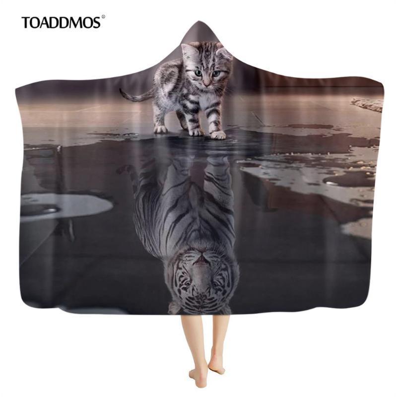 Toaddmos 3d tigre refracta el gato diseño divertido con capucha con capucha de sofá cálido sofá sofá banda de tiro para adultos para niños