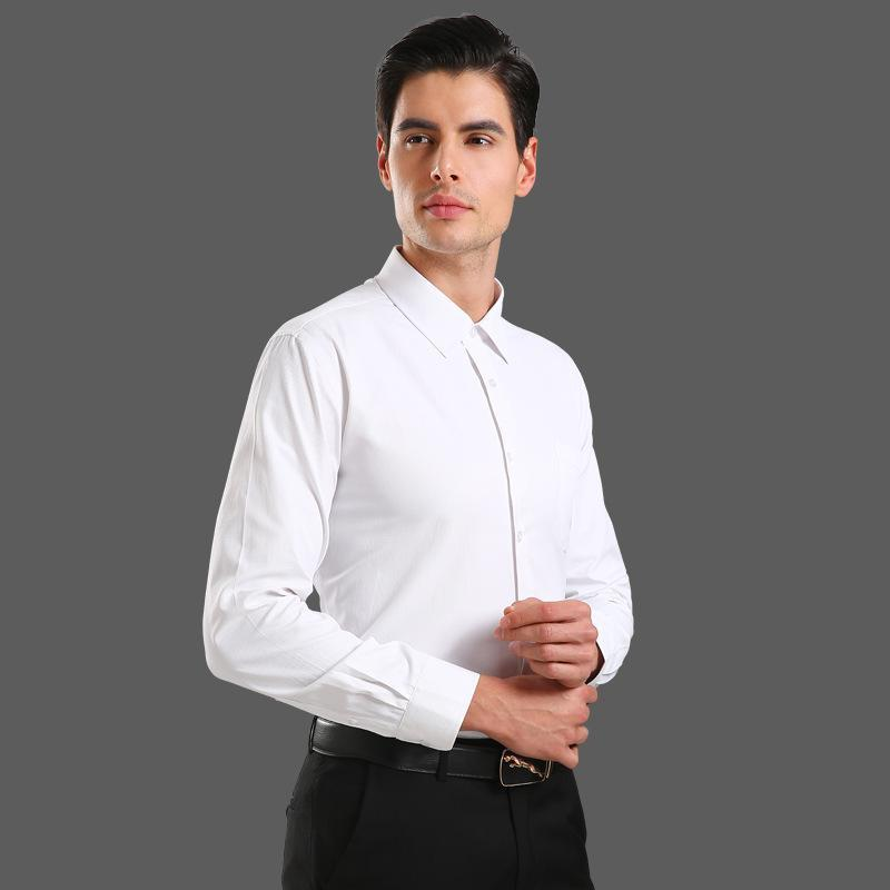 قميص اللون نقي الرجال مخطط التلبيب ضيافة قمصان تناسب عارضة بأكمام طويلة قمم العمل الرسمي ملابس العمل للرجال