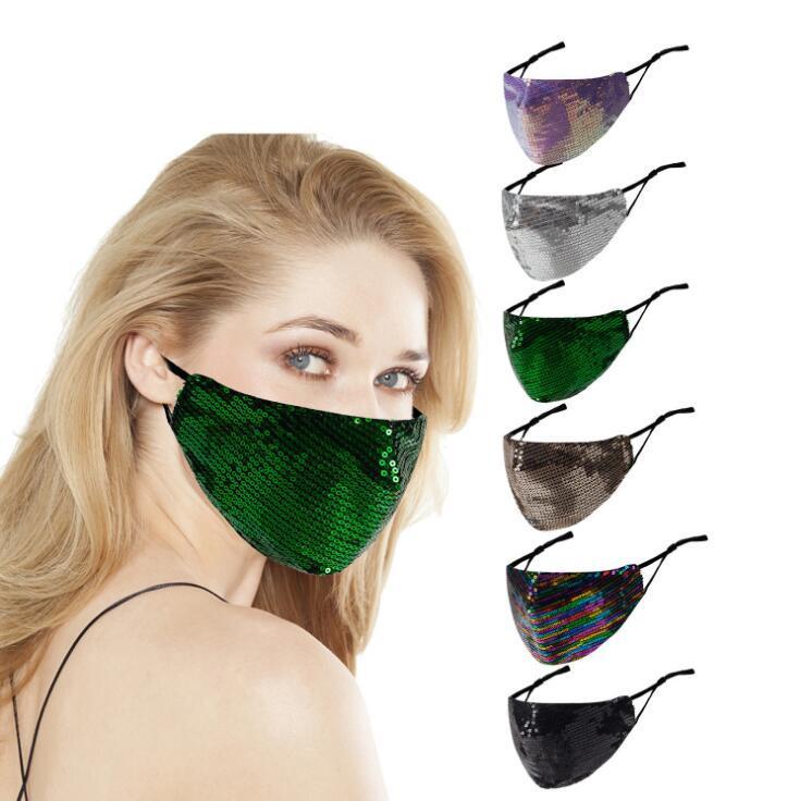 Pailletten Masken Art und Weise Bling Bling Gesichtsmaske Staubdichtes atmungsaktive Baumwolle Waschbar Wiederverwendbare Gesicht Club Party Designer Mask EWE2070 Maske