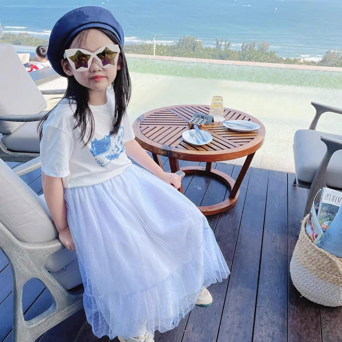 جديد أطفال بنات تنورة الملابس أزياء الأطفال اللباس 2021 الصيف الدانتيل طباعة تنورة طفلة عيد ميلاد توتو قمم