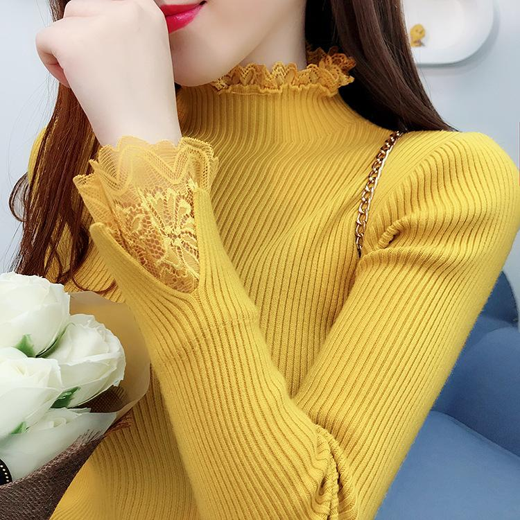 CAÍDA / INVIERNO 2020 NUEVO Costuras de encaje Half High Cuello Suéter Pullover Mujer Slim Manga larga camiseta Camisa de fondo