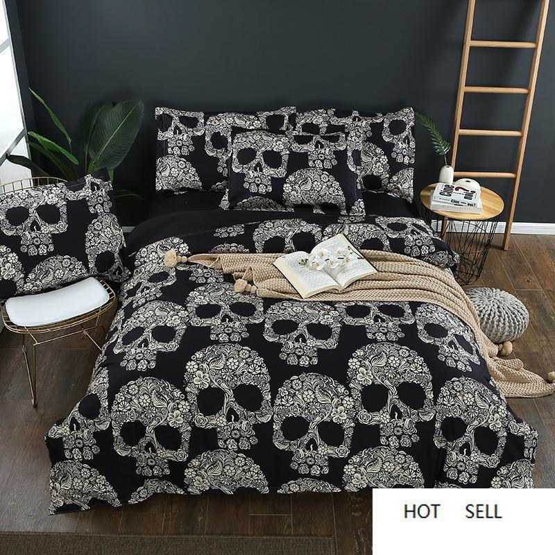2/3pcs Black Duvet Cover Queen Size Sugar Skull Printed Bedding Set King Size 3d Skull Beddings Pillowcase and Bed Sets
