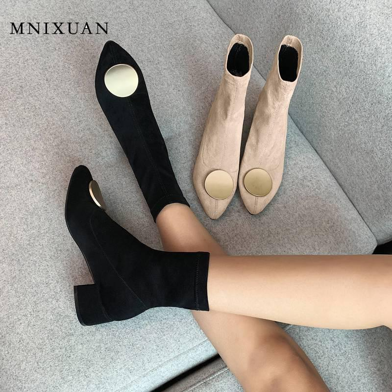 MNIXUAN Fashion Boots Womens Shoes Size 42 slip on mid-calf boots 2020 new suede pointed toe medium block heel shoes big size 101