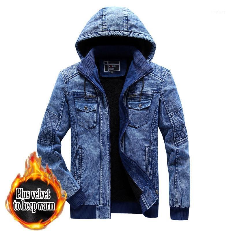 2020 Kış Erkekler Denim Ceket Erkek Moda Rahat Kot Ceket Adam Sıcak Kalın Denim Ceket Erkek Kapüşonlu Bombacı Coats Dış Giyim1