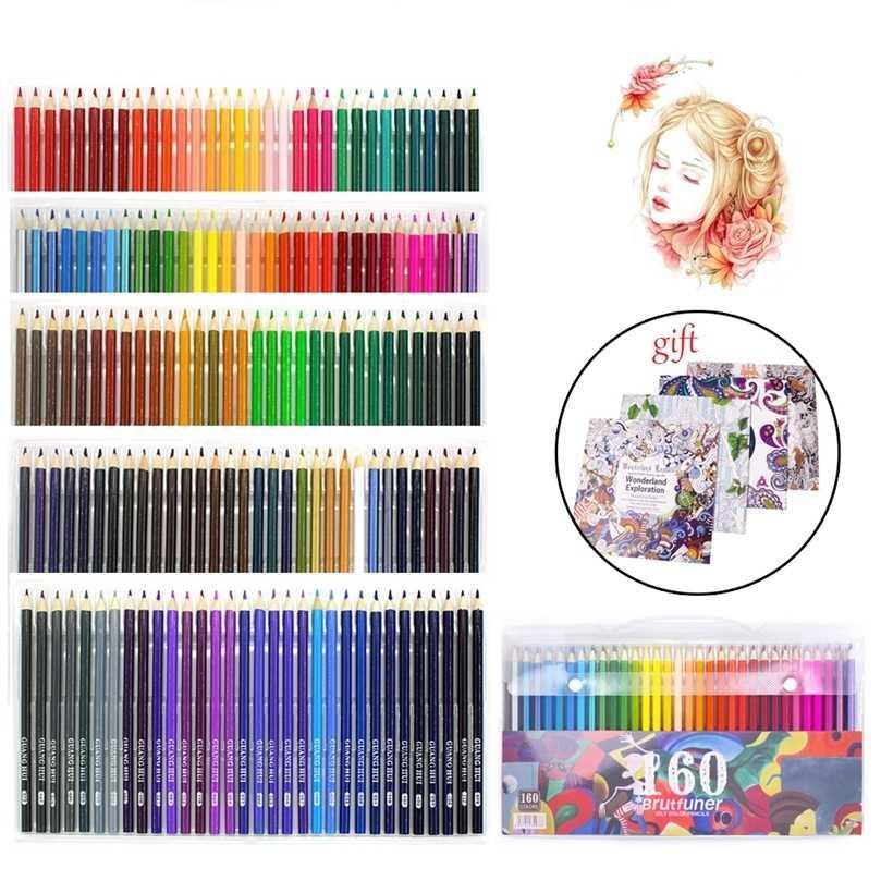 Profesyonel 160 renkli ahşap kalemler çizim set kroki sanat çocuk okul için basit kalem 201223