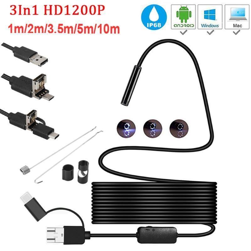 Mini cámara Endoskop HD 1200P IP68 2M Fest Flexible Rohr Mirco USB TyP-C Endoskop Video Inspektion para Android Auto1
