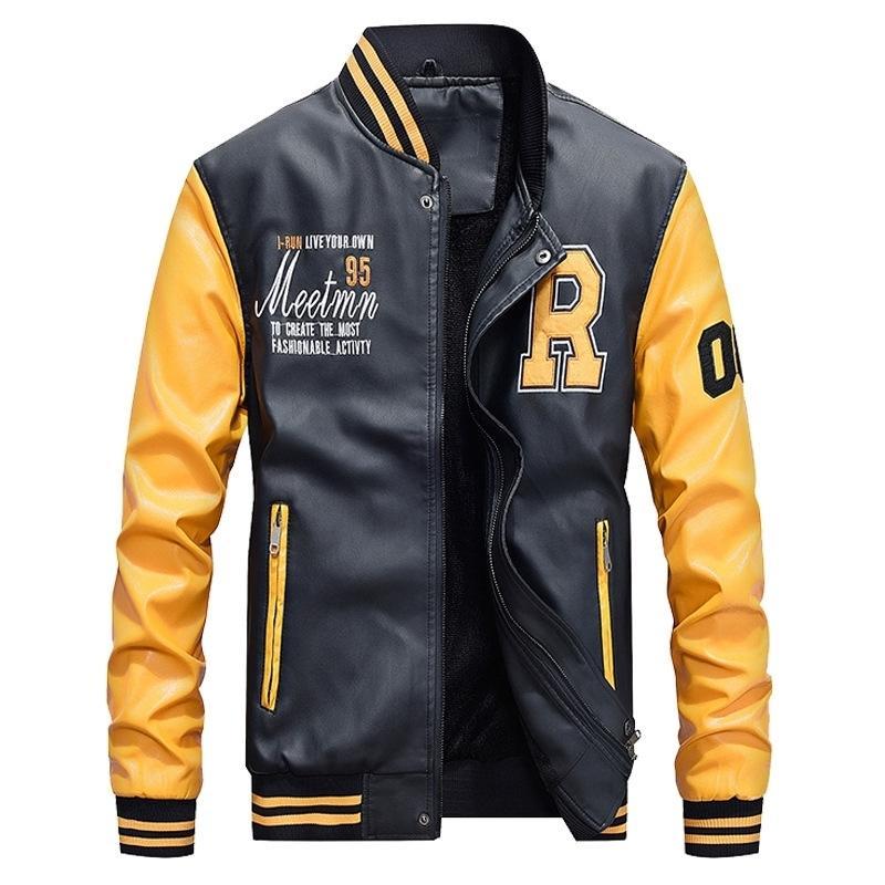 Hommes Baseball Veste brodée Cuir PU Manteaux Slim Fit College Collefe Vestes de Pilote de Prestige Men's Stand Collier Top Veste Manteau LJ201013