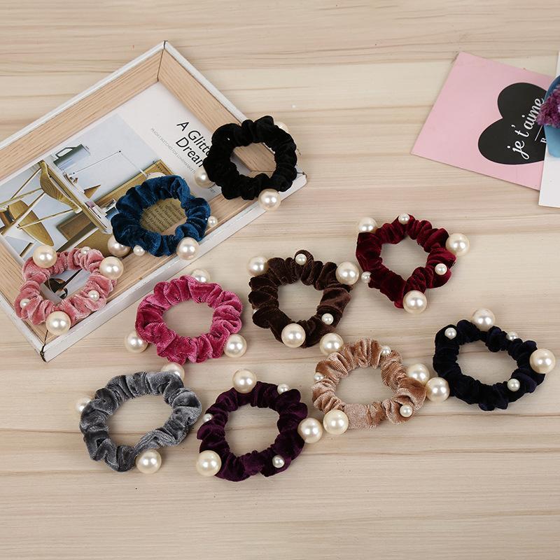 Girls Couleurs Velvet Pearl Elastic Cheveux Cordes Scrunchies Filles 'Pas de crise Cravates Femmes Head Accessoires