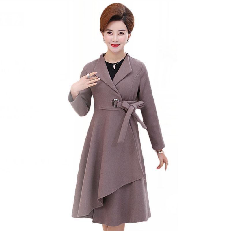 De meia-idade Mulheres lã Casacos 2020 Outono Inverno frouxo longo casaco de lã elegante Tamanho Feminino Além disso roxo Overcoat Hot 4XL LD19