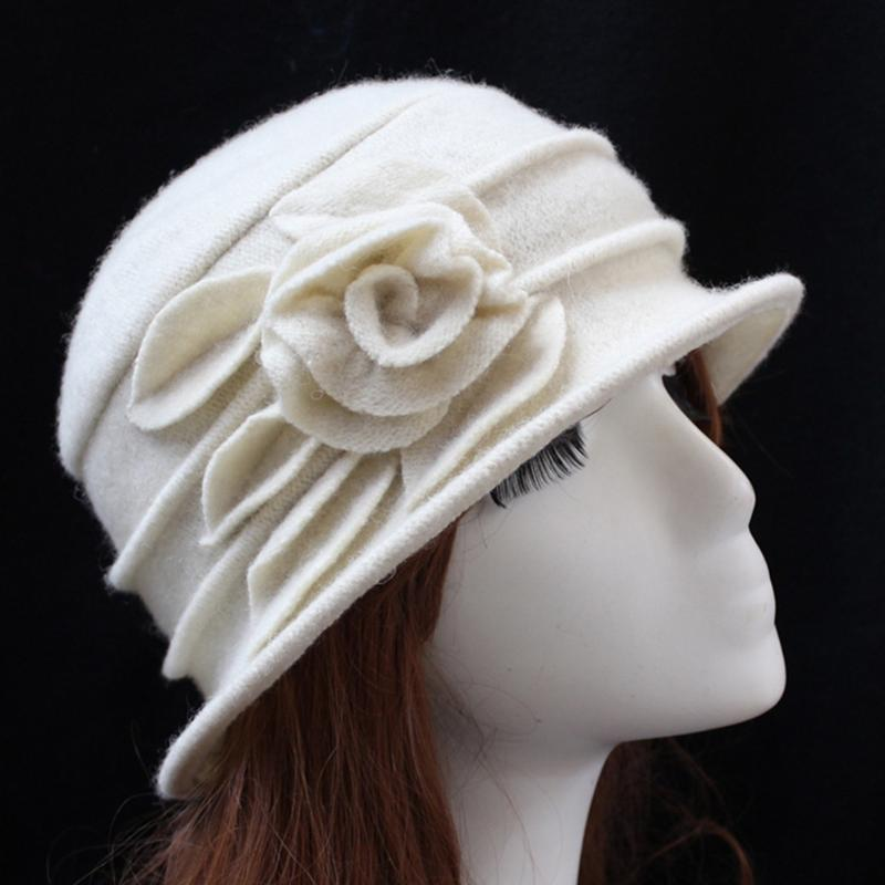 Stingy Breim Hats Винтажные Женщины Шерстяные Шапки Cloche Шапка Мода Дама Ведро Зимний Цветочный Крышка Классический дизайн