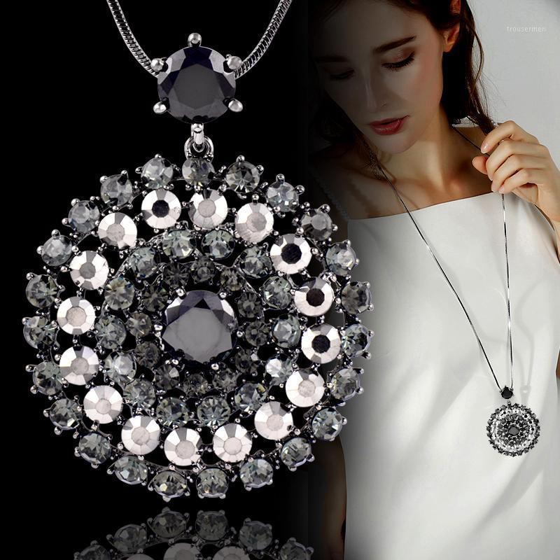 Sinleery Luxury Sparkling Black Bianco Cubic Zirconia Big Circle Ciondolo Collana lunga per le donne Dichiarazione Maxi Gioielli My022 SSB1