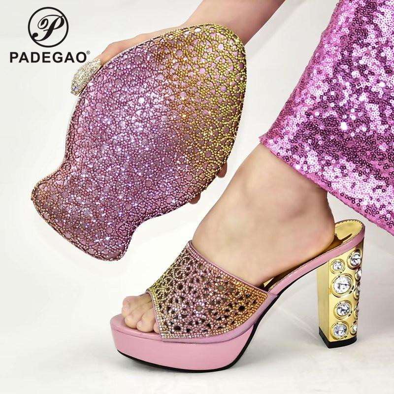 Fashion Women Sandals And Bag Set To Match 9 cm High Quality Nigerian Shoes With Matching Bags For Wedding Party