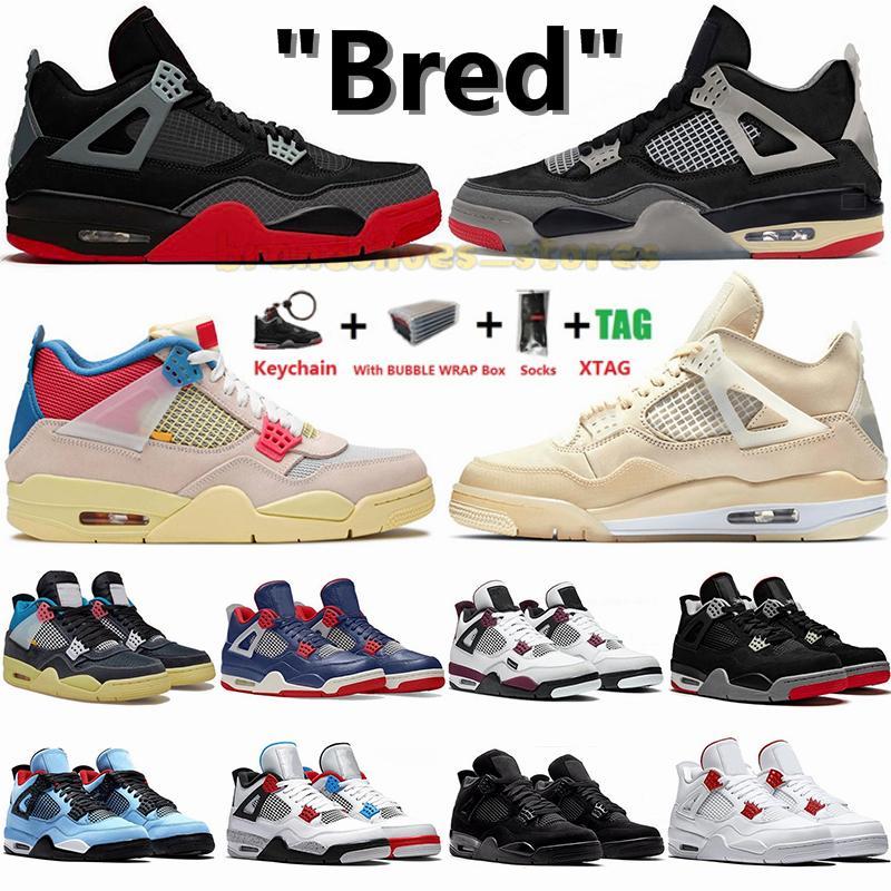 Nike Air Jordan 1 Jordans Retro 4 Jumpman Sapatos de basquetebol 1S 4s Cactus Jack Off White Bred Sail Noir Paris Neon Enquanto tênis COM caixa Tamanho 36-47