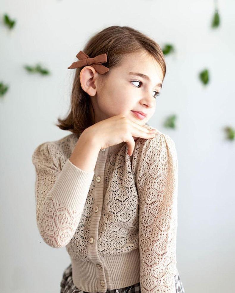 Meninas suéter boutique para crianças manga comprida oca out algodão knit cardigan crianças outdoas outwear tops para crianças1