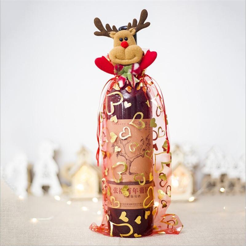 2021 크리스마스 Drawstring Organza 와인 병 커버 랩 선물 가방 홈 웨딩 파티 장식 공예 팩 축제 용품