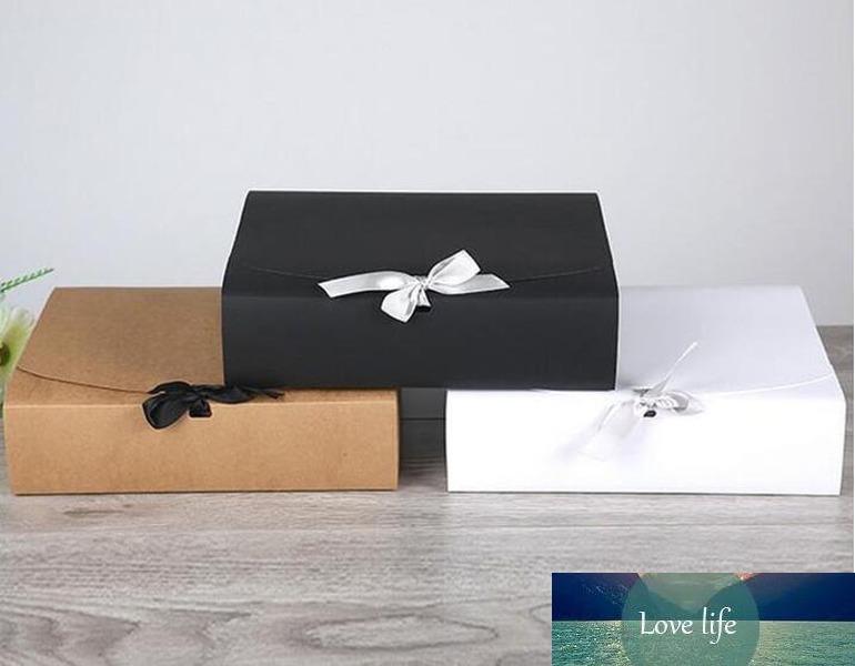 60pcs / lot 31 * 25.5 * 8cm Grand Livre blanc Kraft boîte-cadeau de grande taille pour T-shirt écharpe pour anniversaire de mariage Favor gros