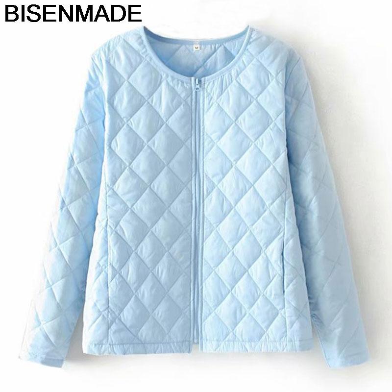 BISENMADE Autumn Winter Women Coats Fashion Solid Short Parka Slim Zipper Lightweight Oversize Female Jacket 210203