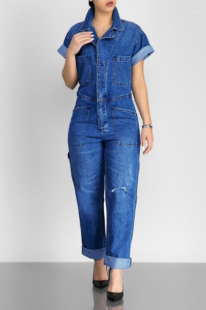 Casual Loose Rompers Womens Jumpsuit Denim large Body Body Femmes manches courtes Bleu PlaySuit Femmes1