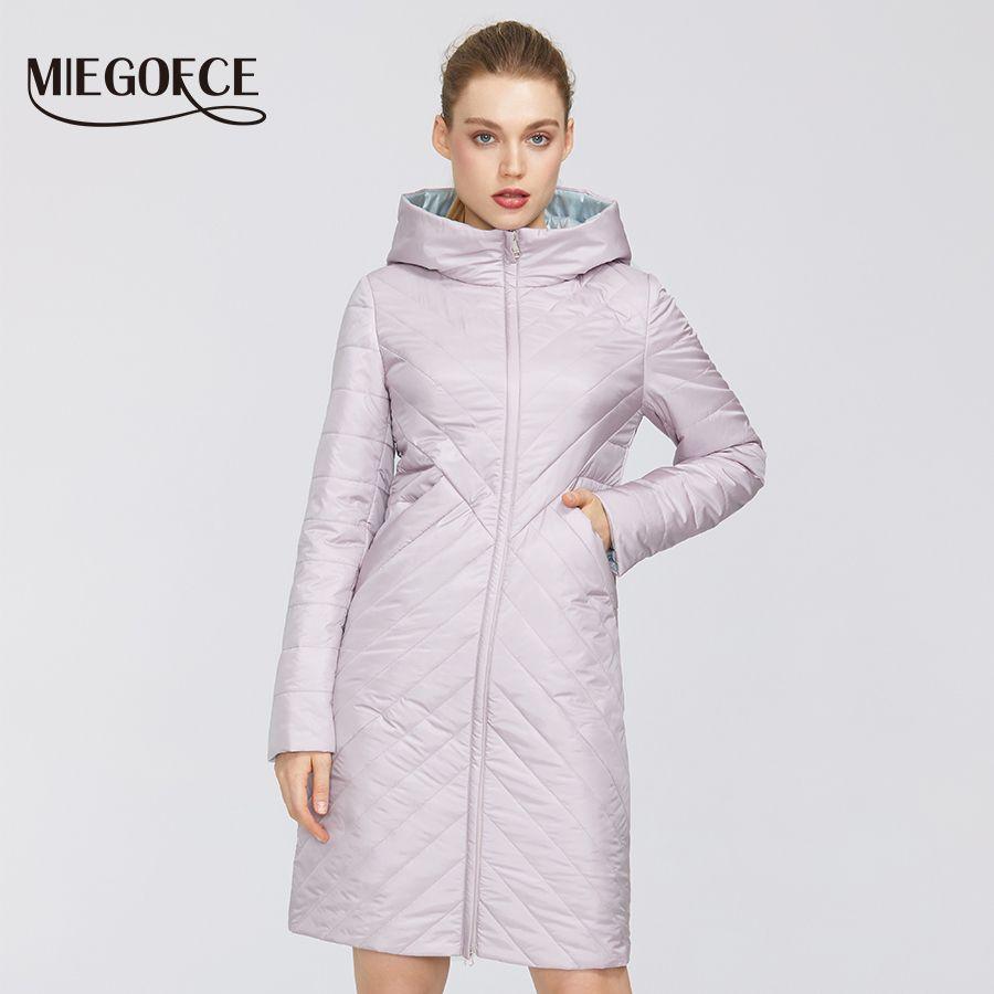 Miegofce 2020 Tasarımcı Bahar Bayan Pamuk Ceket Fermuar ve Orta Uzunlukta Dayanıklı Kapşonlu Yaka Kadın Yağmurluk Rüzgar Geçirmez LJ200825