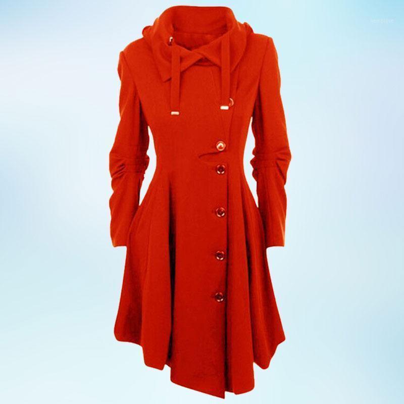 Lange solide farbe einreihig mit Kapuze Wollmantel Herbst und Wintermode beiläufige dicke Jacke frauen Kleidung1
