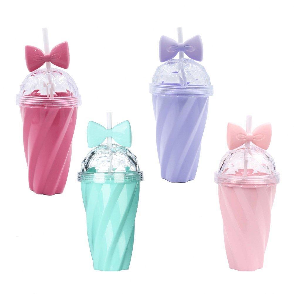 PC Paille Bouteille d'eau Bowknot en plastique 1 Couleur de bonbons tordu Coupe portable pour les filles enfants SWHT #