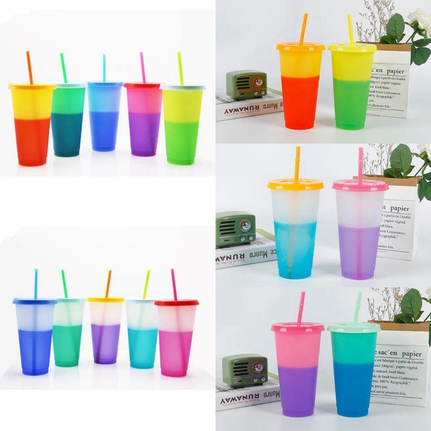 10 أنماط 24oz تغيير لون البهلوانات الشرب كأس ماجيك البلاستيك مع غطاء سترو قابلة لإعادة الاستخدام كاندي الألوان زجاجة كأس الماء البارد CYZ2875 30PCS