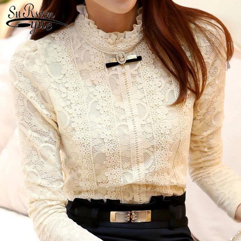 Bahar Yeni Sıcak Tops Giyim Moda Blusas Femininas Bluzlar Gömlek Polar Kadınlar Tığ Bluz Dantel Gömlek 999