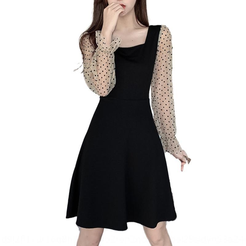nEwzx dress autumn new Korean wave small mesh splicing square collar back lace up waist black dot 2020 dress 7KT9e