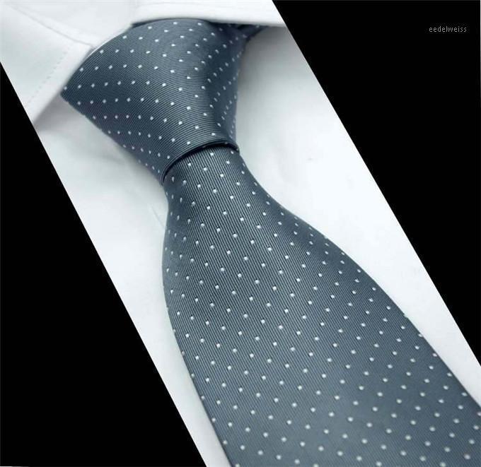 SCST Brand Cravate 2020 New Corbatas Necktie de boda 8cm Corbatas delgadas Punto blanco Impresión Gris Lazos de seda para hombres Tie Gravata CR0441