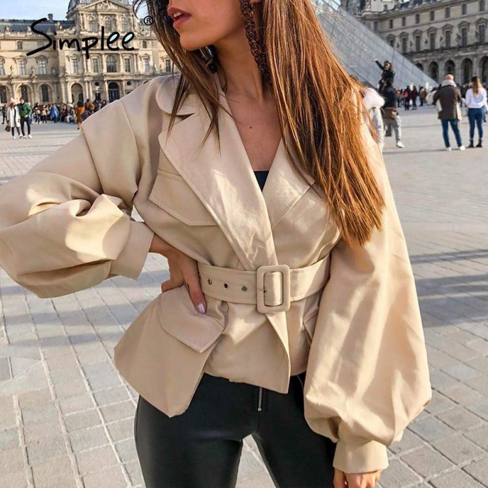 Simplee Lanterna manga casacos casacos mulheres entalhada v jaqueta fina bolso feminino cinto de cintura alta pescoço outono sobretudo 201012