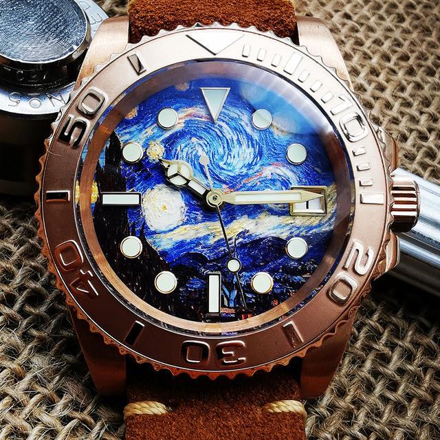 Бронзовый Резные часы Мужские автоматические механические наручные часы Starry Night циферблатом Luminous 200M Diver Часы Мужские Relojes Para Hombre