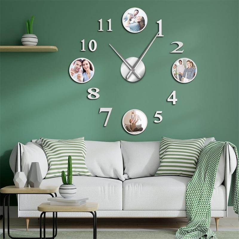 Photo Picture Cornice fai da te grande orologio da parete clock personalizzato foto decorativo soggiorno orologio familiare immagini personalizzate telaio grande orologio T200601