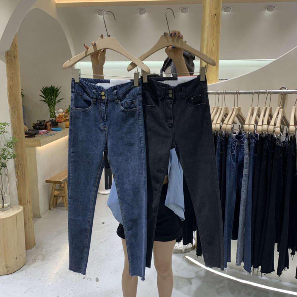 Início outono novo 2020 tendência fina garota dongdamen dois botões de cintura alta calça de pernas magras