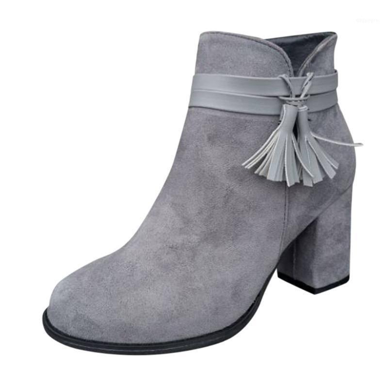 Сапоги женские зимние ретро квадрат с повседневной высокой каблушей осенью мода кисточка сплошной цвет пинетки голые ботинки1